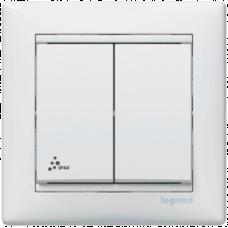 Переключатель 2-кл. IP44, Valena 770098 белый