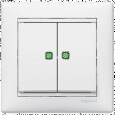 Выключатель 2-кл проходной с подсветкой Valena 774212 белый