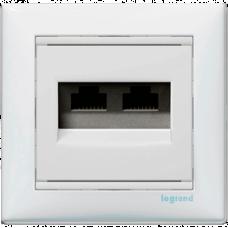 Розетка компьютерная 2xRJ45 UTP кат.5e Valena 774231 белая