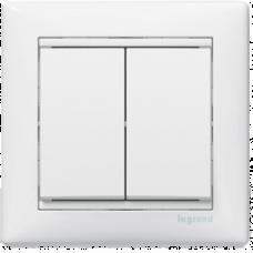 Переключатель (проходной) двухклавишный Valena 774408 белый