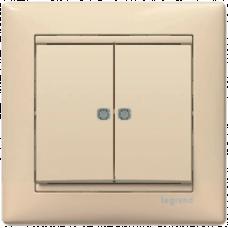 Выключатель 2-кл. (проходной) с п/св Valena 774112 слоновая кость