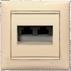 Розетка компьютерная 2xRJ45 STP кат.6e Valena 774145 слоновая кость