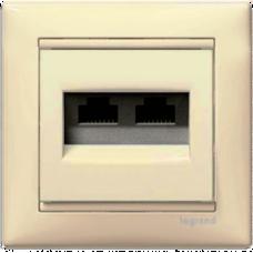 Розетка компьютерная 2xRJ45 UTP кат.6e Valena 774147 слоновая кость