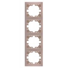 Рамка 4-ая вертикальная без вставки LEZARD MIRA крем