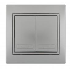 Выключатель двойной LEZARD MIRA металлик серый