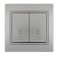 Выключатель проходной двойной LEZARD MIRA металлик серый