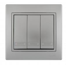 Выключатель тройной LEZARD MIRA металлик серый