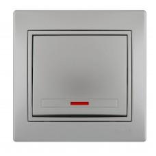 Выключатель с подсветкой LEZARD MIRA металлик серый