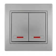 Выключатель двойной с подсветкой LEZARD MIRA металлик серый