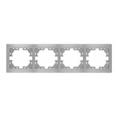 Рамка 4-ая горизонтальная без вставки LEZARD MIRA металлик серый