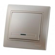 Выключатель с подсветкой LEZARD MIRA жемчужно-белый перламутр
