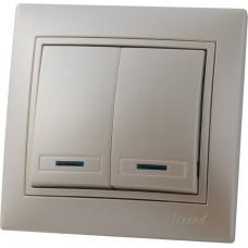 Выключатель двойной с подсветкой LEZARD MIRA жемчужно-белый перламутр