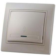 Выключатель проходной с подсветкой LEZARD MIRA жемчужно-белый перламутр