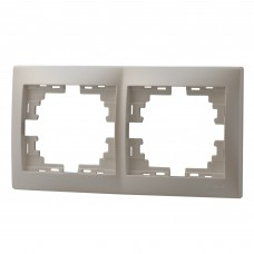 Рамка 2-ая горизонтальная без вставки LEZARD MIRA жемчужно-белый перламутр