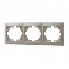 Рамка 3-ая горизонтальная без вставки LEZARD MIRA жемчужно-белый перламутр
