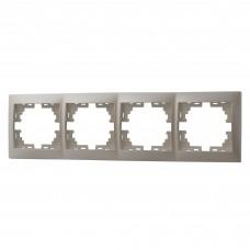 Рамка 4-ая горизонтальная без вставки LEZARD MIRA жемчужно-белый перламутр