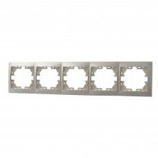 Рамка 5-ая горизонтальная без вставки  LEZARD MIRA жемчужно-белый перламутр