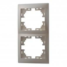 Рамка 2-ая вертикальная без вставки LEZARD MIRA жемчужно-белый перламутр