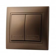 Выключатель двойной LEZARD MIRA светло-коричневый перламутр