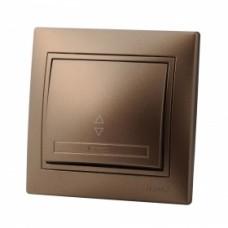 Выключатель проходной с подсветкой LEZARD MIRA светло-коричневый перламутр