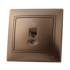 Розетка телефонная евро LEZARD MIRA светло-коричневый перламутр