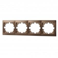 Рамка 4-ая горизонтальная без вставки LEZARD MIRA светло-коричневый перламутр