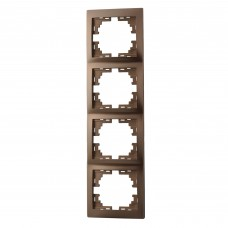 Рамка 4-ая вертикальная без вставки LEZARD MIRA светло-коричневый перламутр