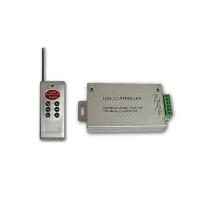RGB радио контроллер ALLUMINIUM RF (24А, 8 кнопок на пульте)