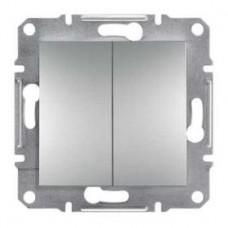 Выключатель 2-клавишный проходной, алюминиевый, Schneider Asfora