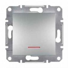 Переключатель 1-клавишный с подсветкой, алюминиевый, Schneider Asfora