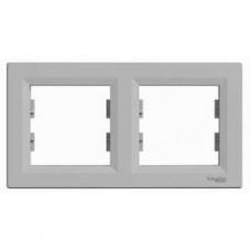 Рамка 2-постовая, горизонтальная, алюминиевый, Schneider Asfora