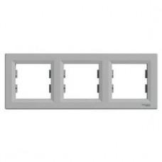 Рамка 3-постовая, горизонтальная, алюминиевый, Schneider Asfora