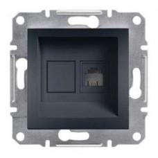 Розетка телефонная RJ11 4 конт., антрацит, Schneider Asfora