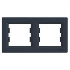 Рамка 2-постовая, горизонтальная, антрацит, Schneider Asfora