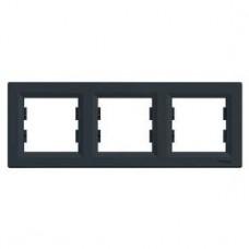 Рамка 3-постовая, горизонтальная, антрацит, Schneider Asfora