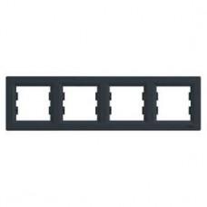 Рамка 4-постовая, горизонтальная, антрацит, Schneider Asfora