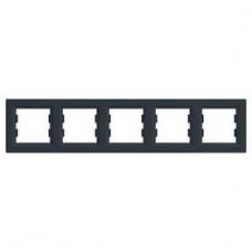 Рамка 5-постовая, горизонтальная, антрацит, Schneider Asfora
