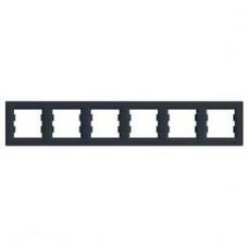 Рамка 6-постовая, горизонтальная, антрацит, Schneider Asfora