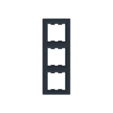 Рамка 3-постовая, вертикальная, антрацит, Schneider Asfora