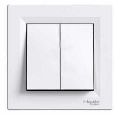 Выключатель 2-клавишный проходной, белый, Schneider Asfora