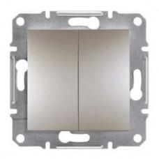 Выключатель 2-клавишный проходной, бронза, Schneider Asfora