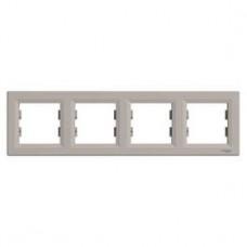 Рамка 4-постовая, горизонтальная, бронза, Schneider Asfora