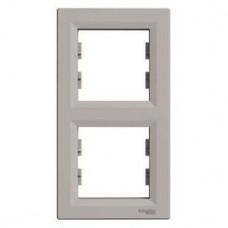 Рамка 2-постовая, вертикальная, бронза, Schneider Asfora