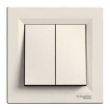 Выключатель 2-клавишный с самозажимным контактом, крем, Schneider Asfora