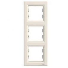 Рамка 3-постовая, вертикальная, крем, Schneider Asfora