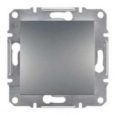 Выключатель 1-клавишный, сталь, Schneider Asfora