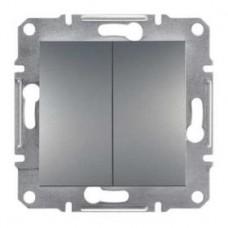 Выключатель 2-клавишный проходной, сталь, Schneider Asfora