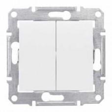 Выключатель двухклавишный белый Sedna SDN0300121