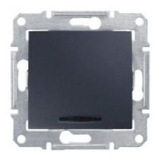 Переключатель одноклавишный с синей подсветкой графит Sedna SDN1500170