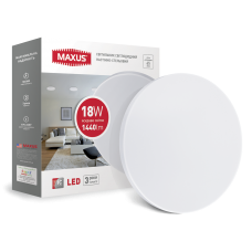 Cветильник накладной MAXUS 18W 4100K (тонкий дизайн, IP40) круглый